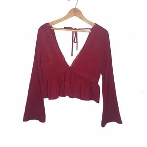 Bohemian Deep V Neck Burgundy Cropped Top Blouse